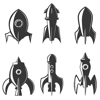 Zestaw ikon rakiet. element logo, etykieta, godło, znak, znak marki.