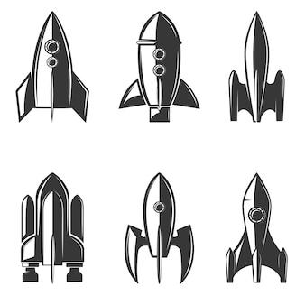 Zestaw ikon rakiet.