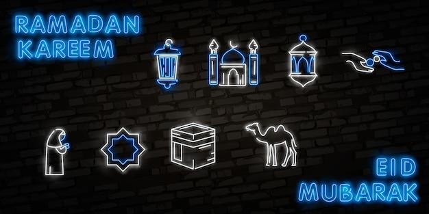 Zestaw ikon ramadan kareem neon.