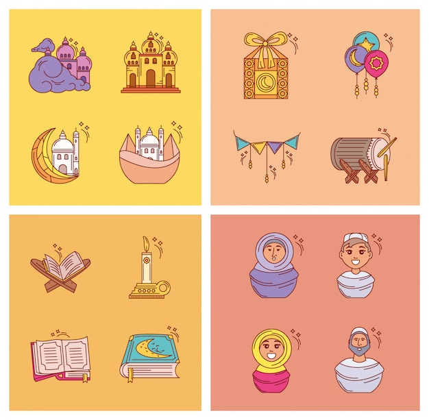 Zestaw ikon ramadan kareem