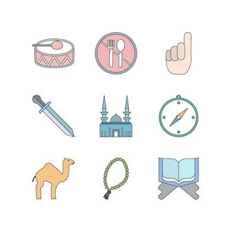 Zestaw ikon ramadanu do użytku osobistego i komercyjnego