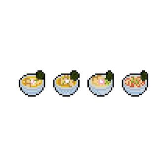 Zestaw ikon ramen kreskówka pikseli sztuki.