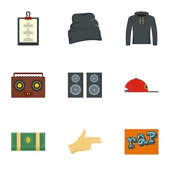 Zestaw ikon rap. płaski zestaw 9 ikon rapu