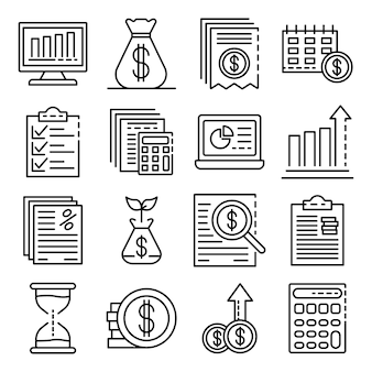Zestaw ikon raportów wydatków. zarys zestaw ikon wektorowych raportu wydatków