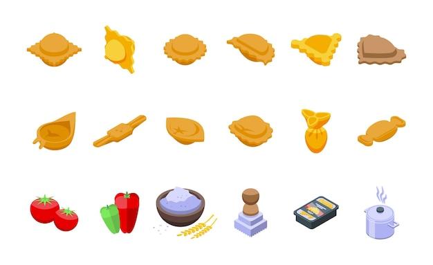 Zestaw ikon ravioli izometryczny wektor. jedzenie mąki