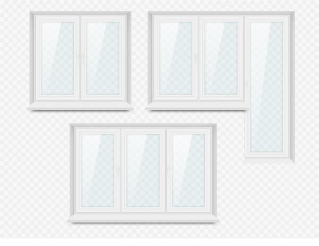 Zestaw ikon realistyczne białe plastikowe okna