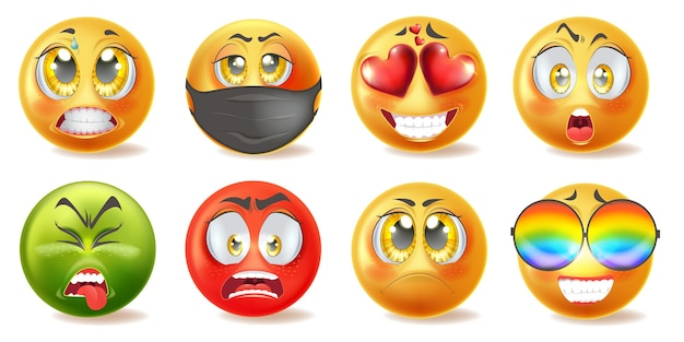 Zestaw ikon realistyczne emotikony z różnymi twarzami