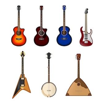 Zestaw ikon realistyczne instrumenty muzyczne