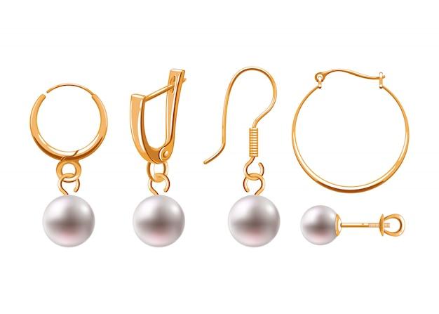 Zestaw ikon realistyczne kolczyki biżuteria akcesoria.