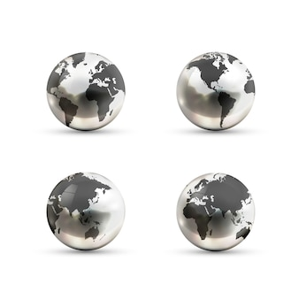 Zestaw ikon realistyczne metaliczne kule ziemskie z różnych stron na białym tle