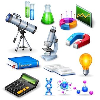 Zestaw ikon realistyczne nauki