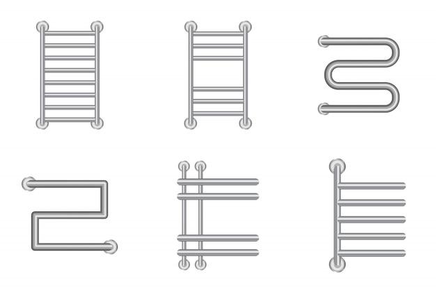 Zestaw ikon realistyczne podgrzewany wieszak na ręczniki lub grzejnik baterii grzewczej. ilustracja.