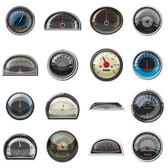 Zestaw ikon realistyczne prędkościomierze samochodu.