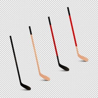 Zestaw ikon realistyczne sportowe - kije hokejowe.