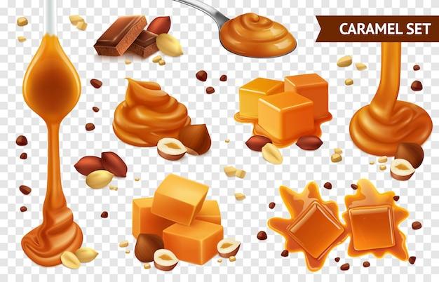 Zestaw ikon realistycznej karmelowej czekolady i orzechów o różnych kształtach smaku i kondycji
