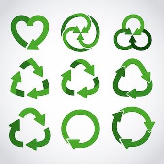 Zestaw ikon recyklingu