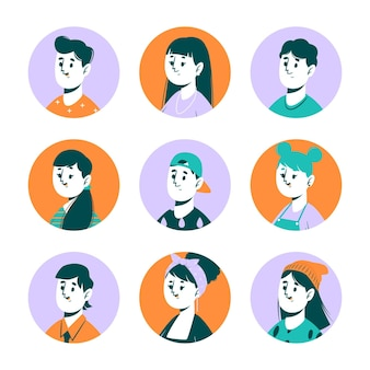 Zestaw ikon ręcznie rysowane profilu