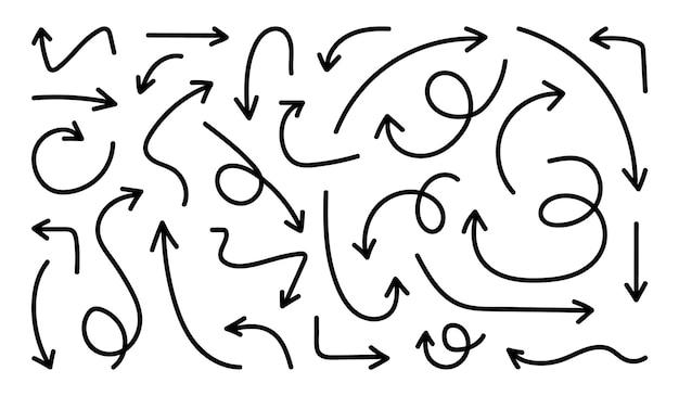 Zestaw ikon ręcznie rysowane strzałki szkic zakrzywione strzałki projekt
