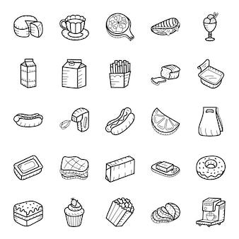 Zestaw ikon ręcznie rysowane żywności i napojów
