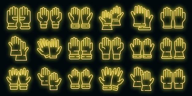 Zestaw ikon rękawic medycznych wektor neon