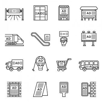Zestaw ikon reklamy zewnętrznej, handlowej i marketingowej. wektor styl linii.