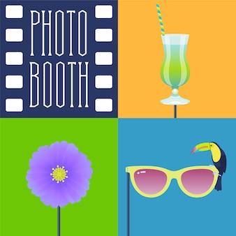 Zestaw ikon rekwizytów do fotobudki
