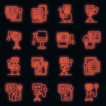 Zestaw ikon respiratora maszyny medycznej wektor neon