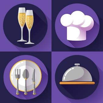 Zestaw ikon restauracji gotowanie i kuchnia