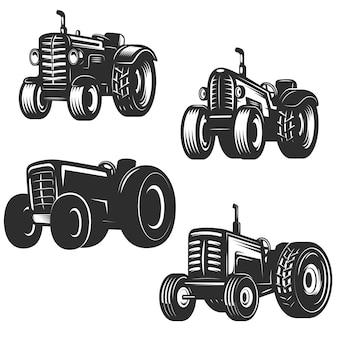 Zestaw ikon retro ciągnika. elementy logo, etykiety, godło, znak. ilustracja