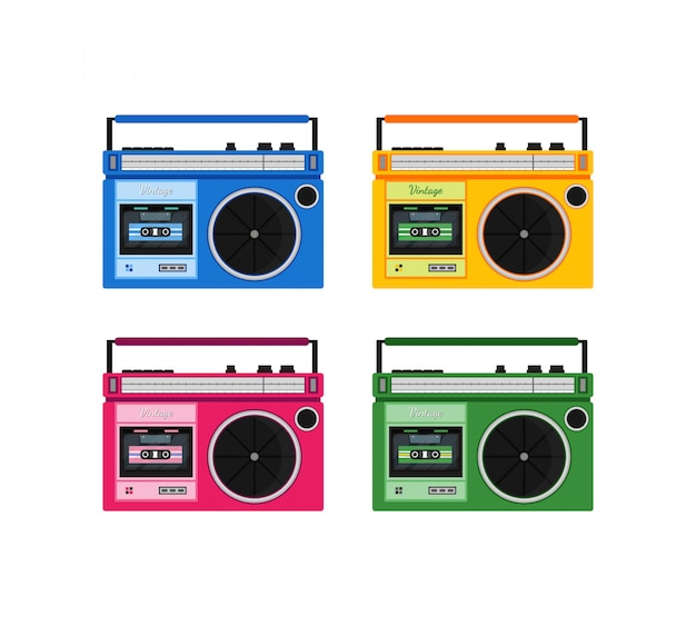 Zestaw ikon retro kolorowe radio