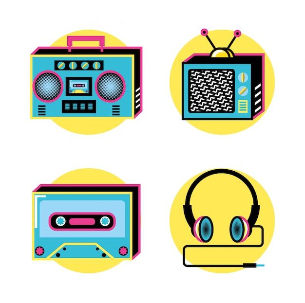 Zestaw ikon retro lat 90