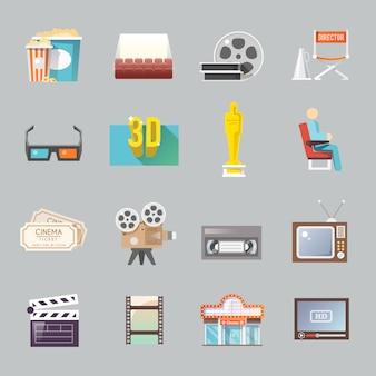 Zestaw ikon retro płaski kino