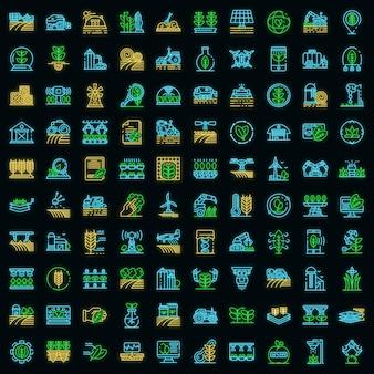 Zestaw ikon robotów rolniczych. zarys zestaw ikon wektorowych robotów rolniczych w kolorze neonowym na czarno