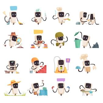 Zestaw ikon robotów sztucznej inteligencji