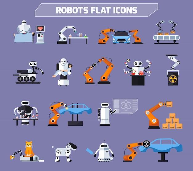 Zestaw ikon robotów