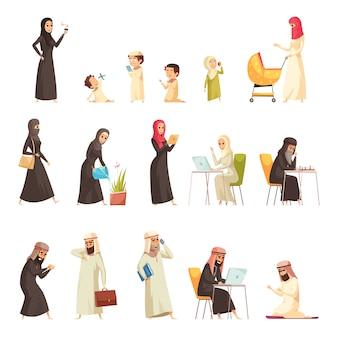 Zestaw ikon rodziny kreskówka arabowie