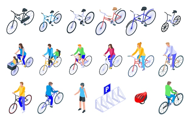 Zestaw ikon rodziny rowerów, izometryczny styl