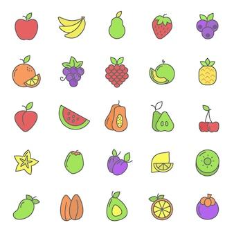 Zestaw ikon roślina owoców