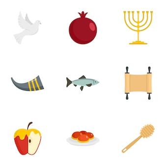 Zestaw ikon rosz haszana. płaski zestaw 9 ikon wektorowych hashanah rosh