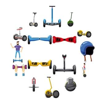 Zestaw ikon równowagi skuterów, stylu cartoon