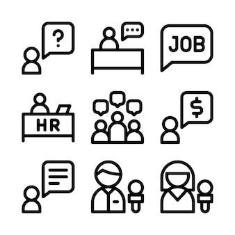 Zestaw ikon rozmowy kwalifikacyjnej.
