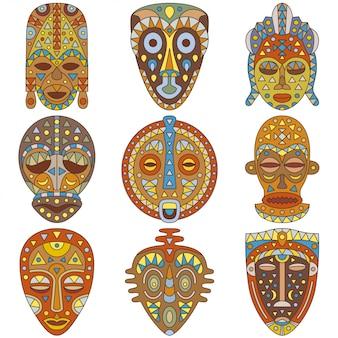 Zestaw ikon. różne maski etniczne. ilustracja