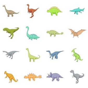 Zestaw ikon różnych dinozaurów