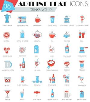 Zestaw ikon różnych linii płaskich napojów