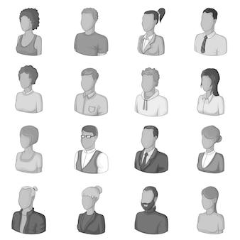 Zestaw ikon różnych ludzi, styl monochromatyczny