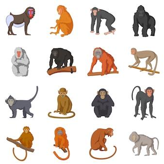 Zestaw ikon różnych małp