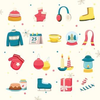 Zestaw ikon różnych obiektów zimowych
