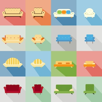 Zestaw ikon różnych pasujących sof i krzeseł