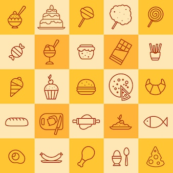 Zestaw ikon różnych rodzajów żywności