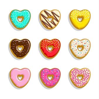 Zestaw ikon różnych słodkich pączków. słodkie i jasne pączki w kształcie serca.